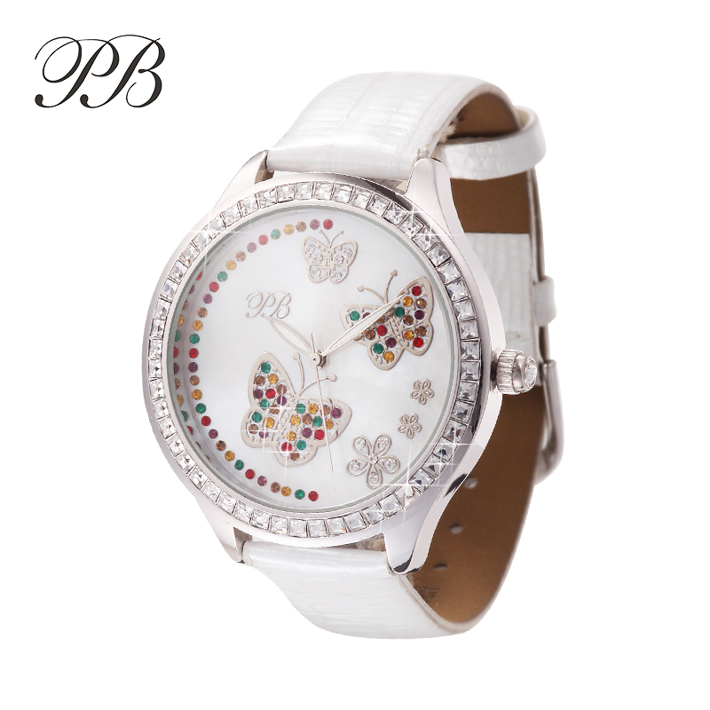 New Arrival Princess Butterfly Austrian Crystal Leather Band White-Tone Watch Fashion Girl Luxury Diamond Butterfly Watch