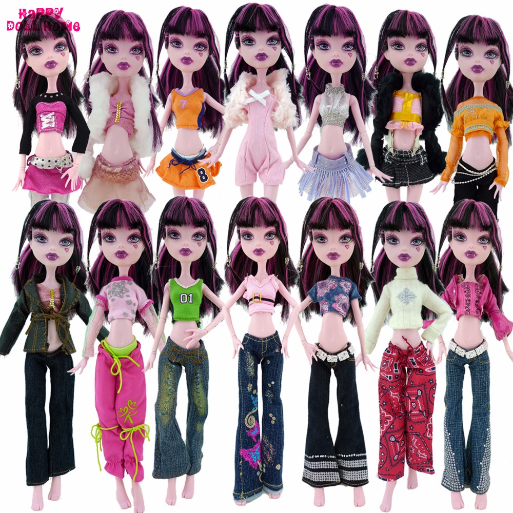 Random 10 Items = Fashion 5 Outfit + 5 Pair High Heels Shoes Accessories Clothes For Monster High Doll Dollhouse Kids Toy Gift аксессуары для косплея random beauty cosplay