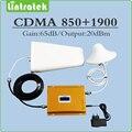 Ganancia 65dB SignalBooster Lcd de Doble Banda 850 mhz 1900 mhz Amplificador CDMA PCS Repetidor de Señal kit Completo Conjunto con Antena y Cables