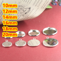 10mm 12mm 14mm 16mm 18mm 20mm Silver Plated Blank Pendant Trays Bases Cameo Cabochon Setting For