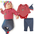 3PCS/0-24Months/Spring Autumn Infant Boys Girls Rompers Clothes Stripe Red Baby Bodysuits+Pants+Hat Newborn Clothing Sets BC1230
