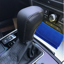 hot deal buy free shipping high quality cowhide top layer leather automatic gear shift collars gear cover for 2018 audi a6 a6l a7