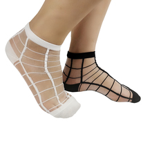 Womens socks fashion summer silk casual glass thin section cool transparent 5 double random delivery