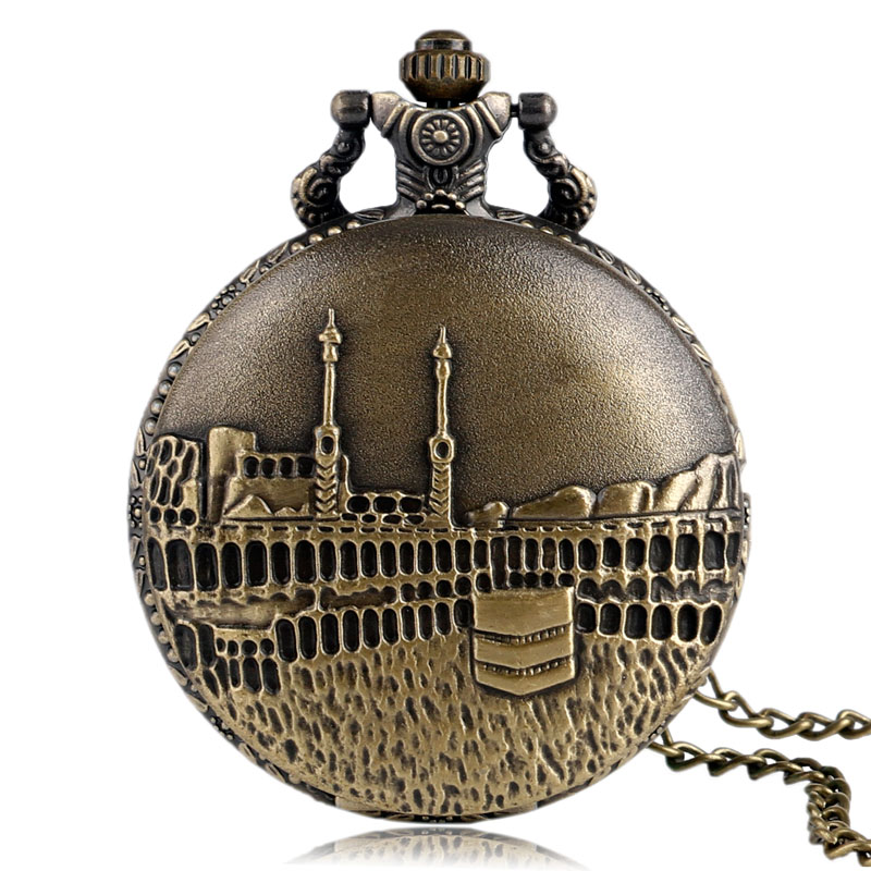 Vintage Bronze Castle Pattern Quartz Fob Pocket Watch With Necklace Pendant Chain For Men Women Gift Clock Reloj De Bolsillo