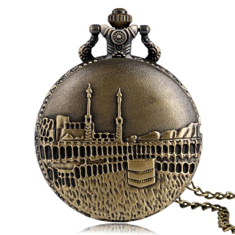 Vintage Bronze Castle Pattern Quartz Fob Pocket Watch With Necklace Pendant Chain For Men Women Gift Clock Reloj De Bolsillo
