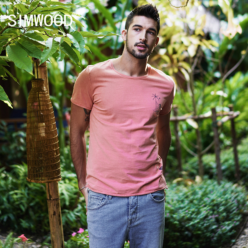 SIMWOOD 2020 Summer T-Shirts Men Print Tops Cotton Slim Fit Casual Tees Short Sleeve Brand Clothing Free Shipping TD017114