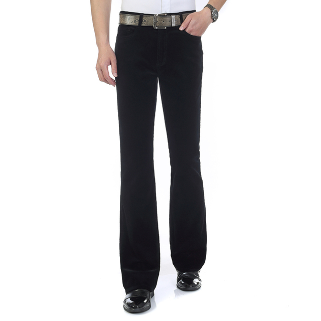Free Shipping 2019 Men's Spring Autumn New Corduroy Boot Cut Pants Male Mid Waist Business casual flares Corduroy Trousers 27-38 4