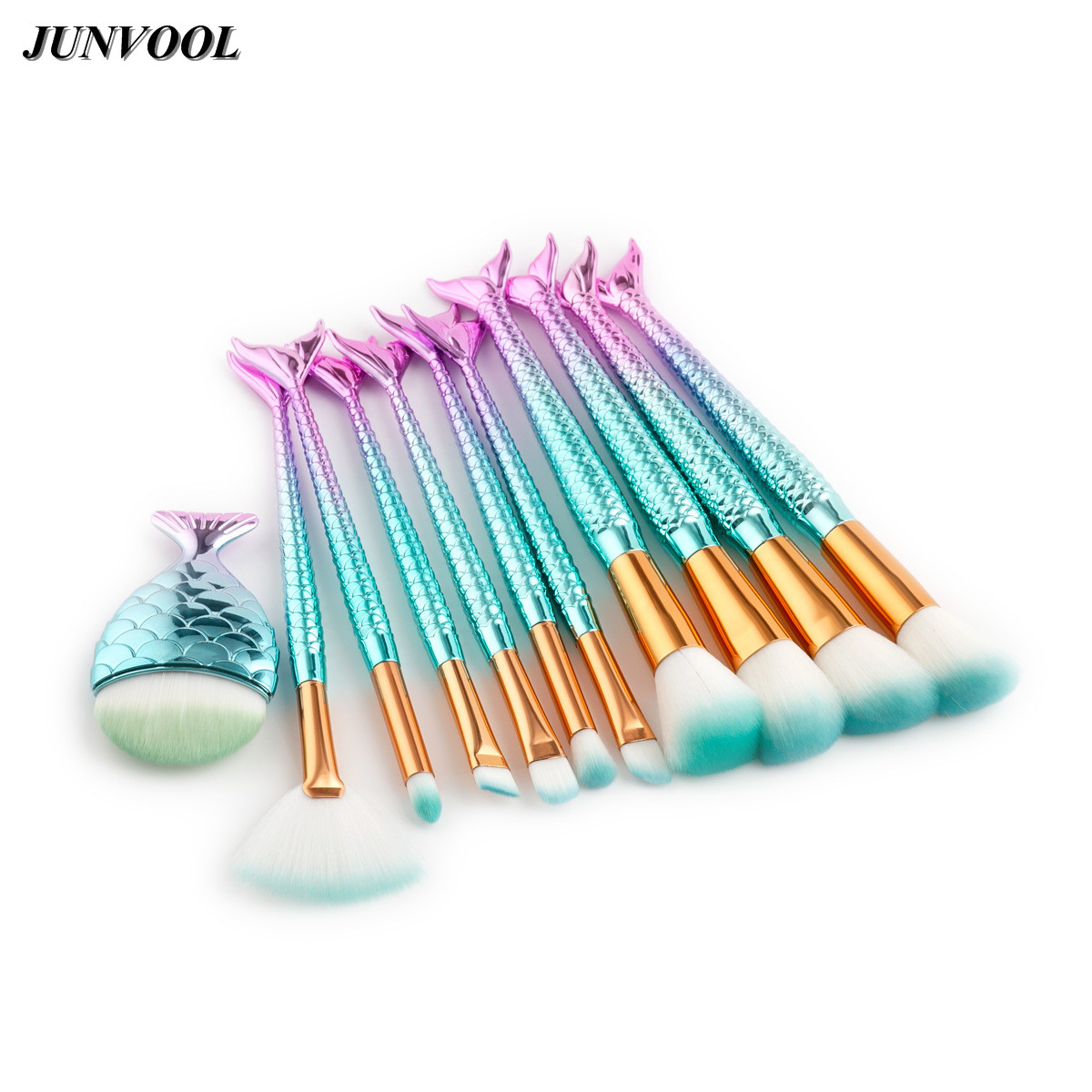 Pro 11Pcs Mermaid Makeup Brush Set Big Fish Tail Foundation Powder Make-up Tools Eyeshadow Contour Blending Cosmetic Fan Brushes 1000g 98% fish collagen powder high purity for functional food