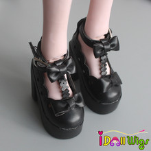 1 Pair 1/3 SD/BJD Doll Shoes Black White High-heeled for BJD Dolls