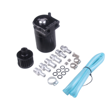 Universal Aluminum Oil Catch Tank Cylinder Catch Reservoir Car Can Breather Kit(Black/Red/Blue) For GM 0 5l universal aluminum racing car oil catch radiator breather tank kit reservoir can silver