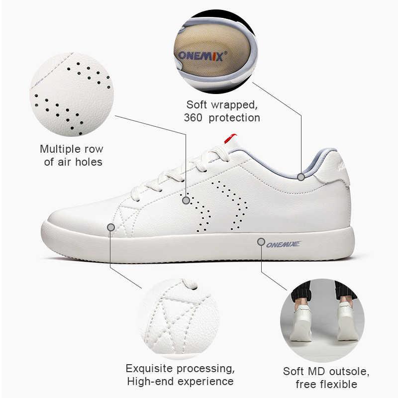 Onemix Paar Skateboarden Schoenen Vrouwen Wit Flats 2019 Nieuwe College Stijl Lederen Ademende Mannen Casual Sneakers Jogging Schoenen