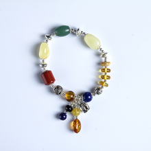 100% Natural amber beeswax multi-treasure hand string bracelet 999 sterling silver drop pendant lady genuine noble grade special недорого