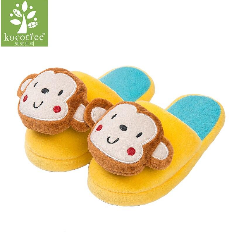 2017 New Style Cartoon Animal 3D Monkey Children Plush Slippers Kids Princess Winter Warm Woolen Home Shoes For Girls Boys