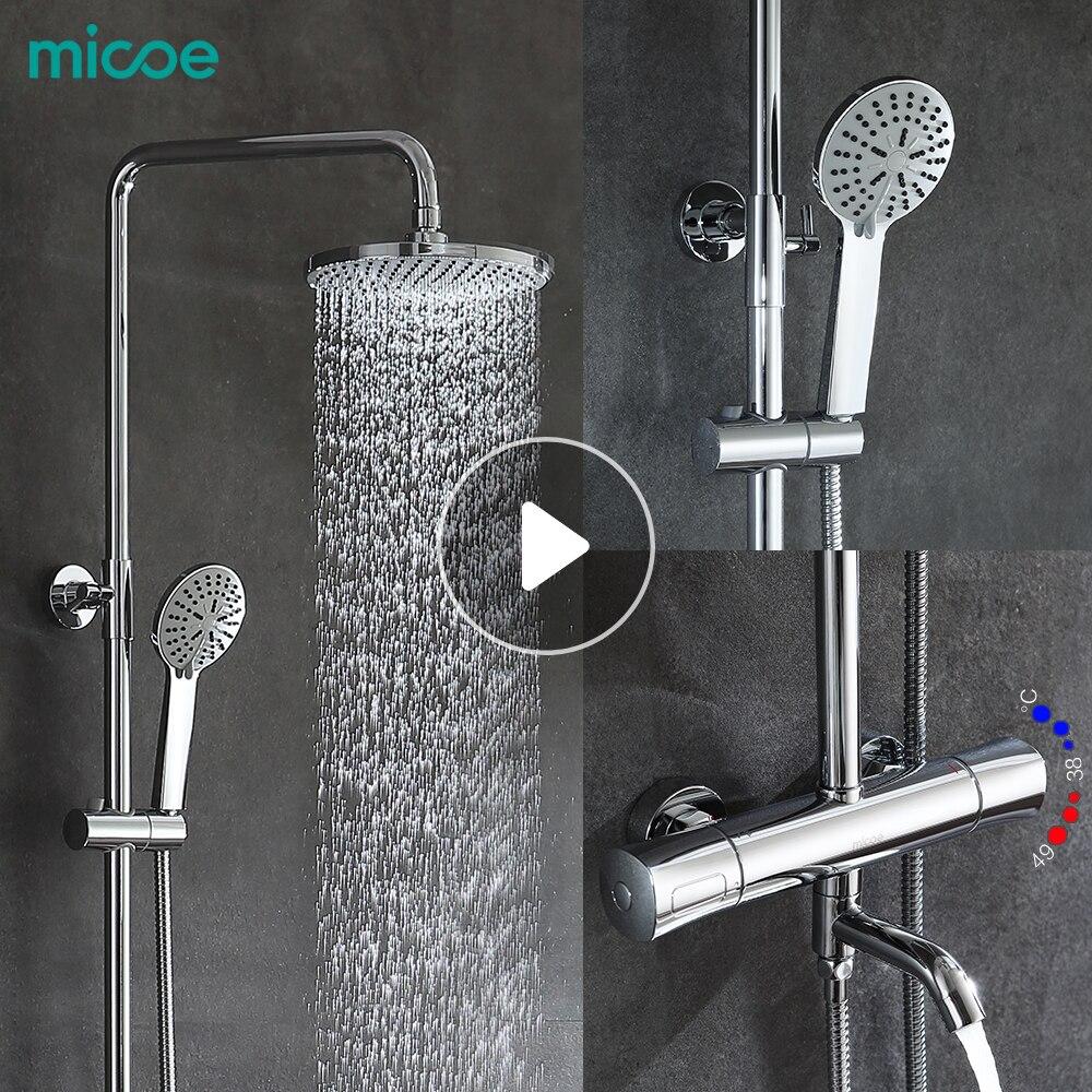 Micoe douche set intelligente thermostatische kraan douchekop messing thermostatische mengkraan badkamer kraan douche systeem