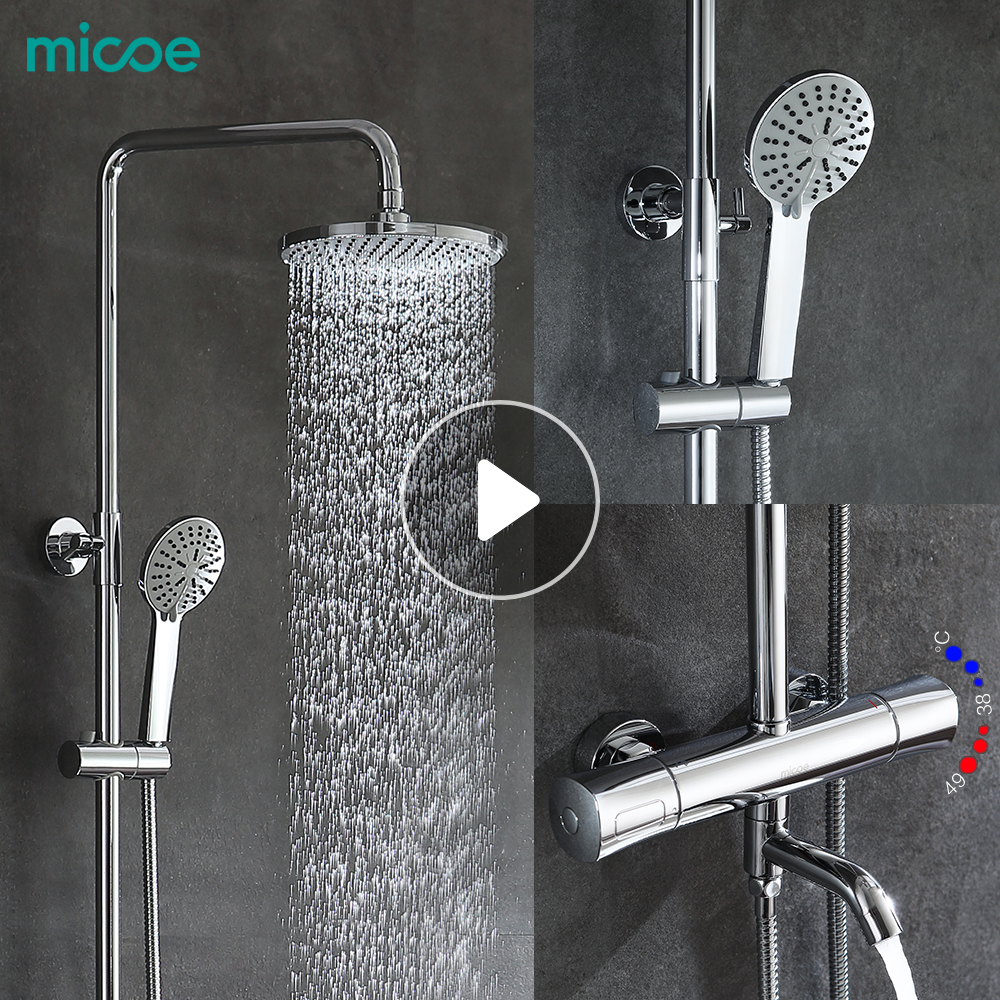 Micoe Shower Set Intelligent Thermostatic Faucet Shower Nozzle Brass - Bathroom faucet and shower sets