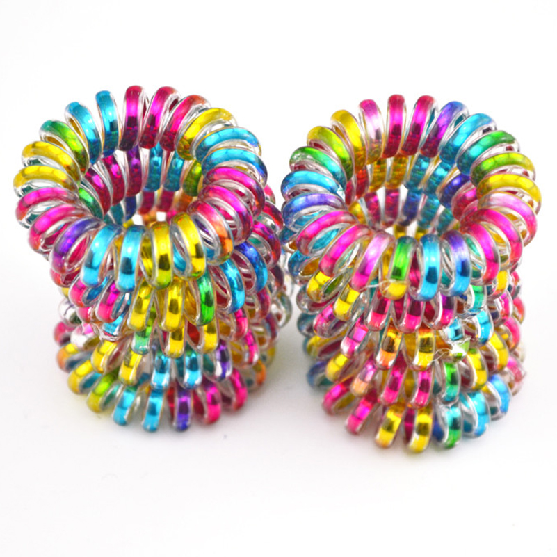 Wholesale 10 Pcs Colorful Telephone Wire Cord Line Gum Holder Elastic Hair Band Tie Scrunchy 3.5cm Hair Accessory