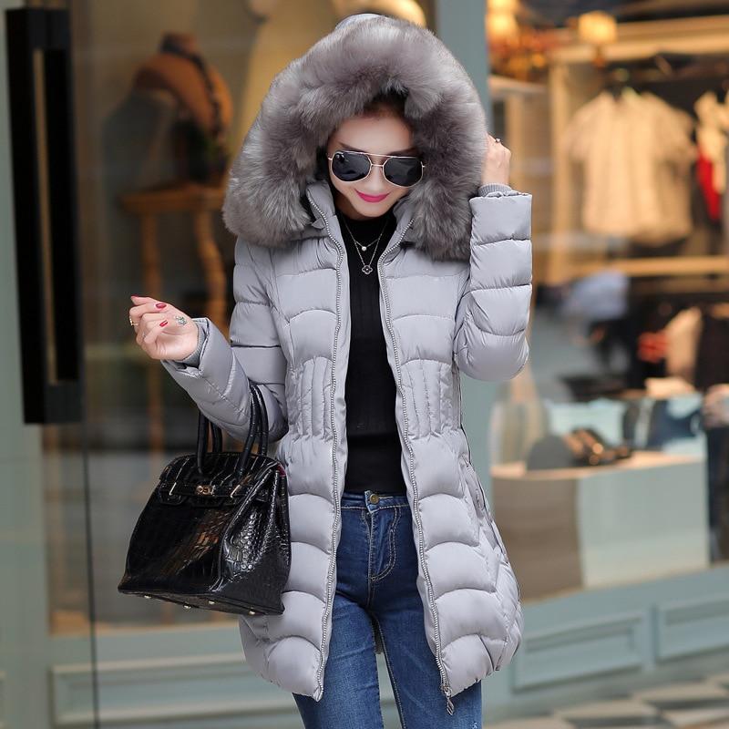 2018 New Big Fur Winter Coat Thicken   Parka   Womens Tightening Waist Slim Long Winter Coats Down Cotton Ladies Down   Parka   Jacket
