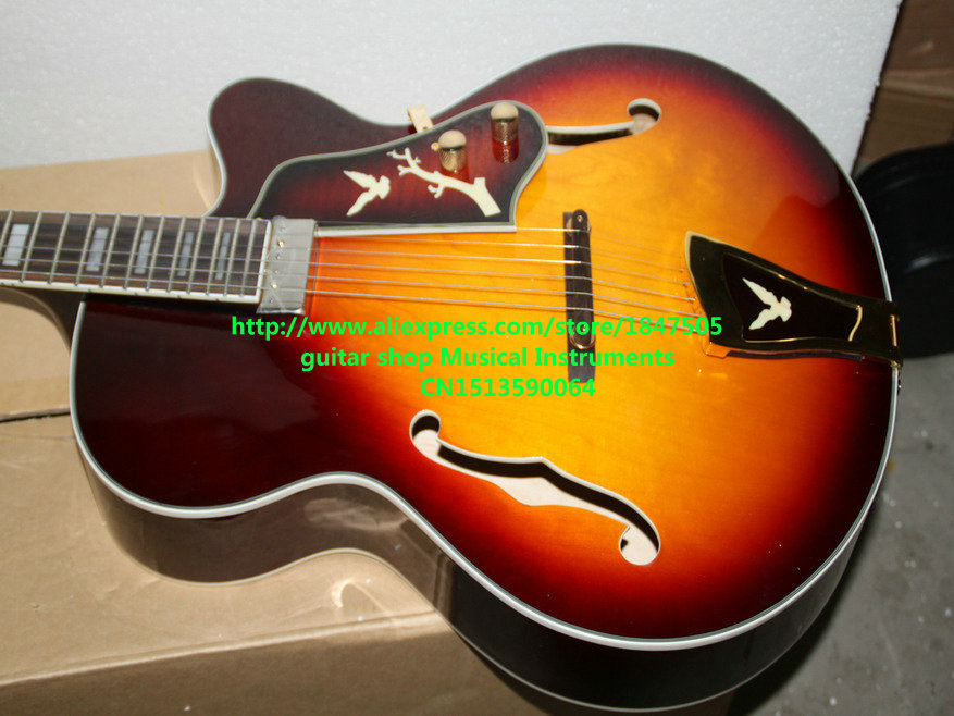 Custom Shop Sunburst Vintage Hollow Jazz Guitar One Pickup High Quality Wholesale Guitars HOT high quality musical instrument cherry sunburst classical hollow guitar body es jazz guitars china lefty available