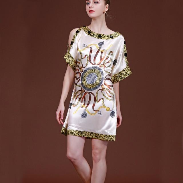 90f3669a66c1a SSH056 Spring Summer Fancy Nightgowns Sleepshirt 2017 Satin Silk Lady  Sleepwear Dressing Gown Female Home Bathrobe Intimissimi