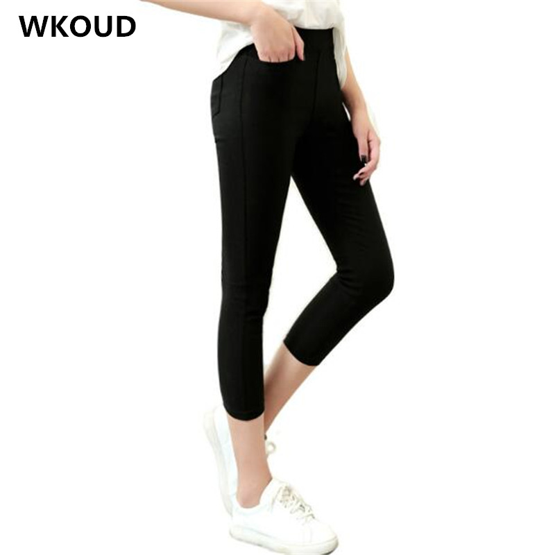 WKOUD 2019 Summer   Capris   Pencil   Pants   Women High Waist Solid Skinny Calf-length Trousers Pockets Fashion Stretch   Pants   P9022