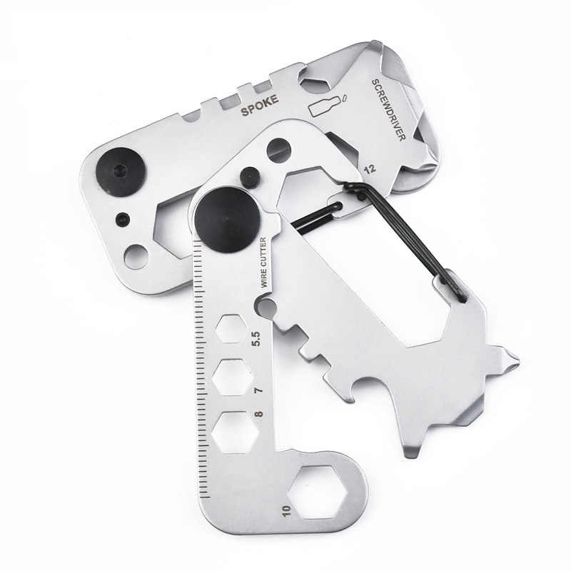 Открытый Карманный EDC Многофункциональный инструмент, карточный гаечный ключ для кемпинга, езды, Мультитулы, брелок, многофункциональные детали для инструментов, 420 нержавеющая сталь