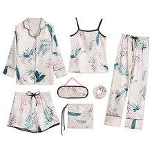 7 Peças Conjunto de Pijama Emulação de Seda Listrado das mulheres Pijamas Mulheres Roupa Em Casa Sleepwear Sexy Pijama Noite Terno Pijamas Primavera