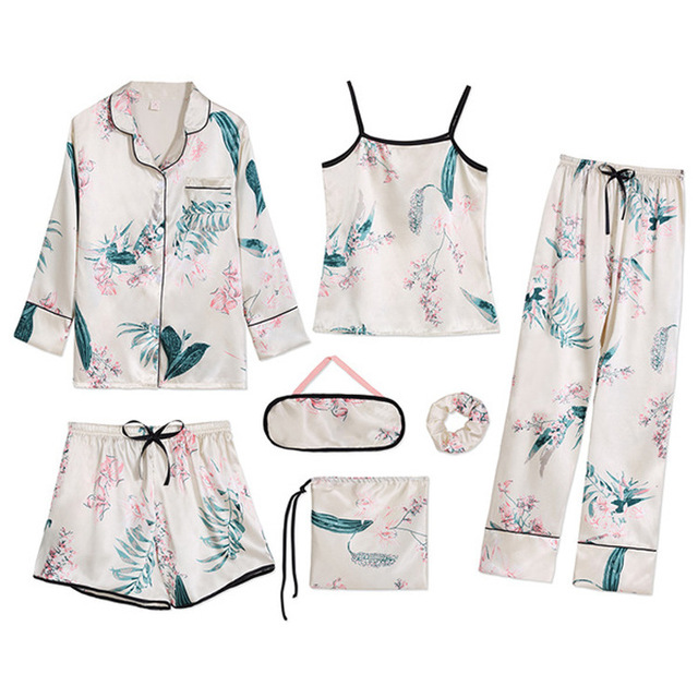 Womens 7 Pieces Pajama Set Emulation Silk Striped Pajamas Women Sleepwear Home Clothes Sexy Pijama Night Suit Spring Pyjamas