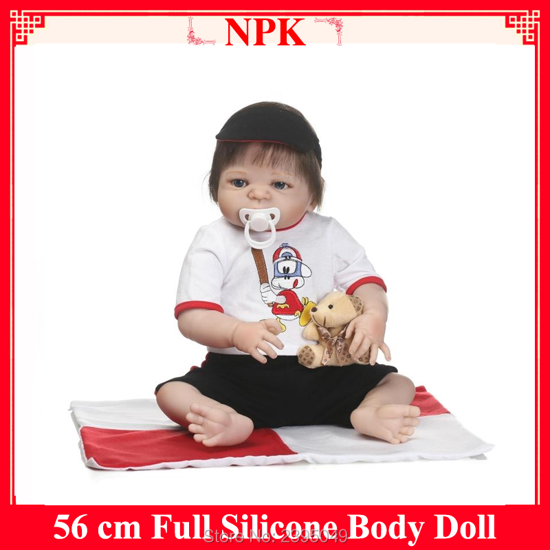 Hot 22 Inch Reborn Babies Full Silicone Vinyl Realistic Baby Boy Fashion Baby Alive Dolls Kid Best Playmate Can Enter Water Gift