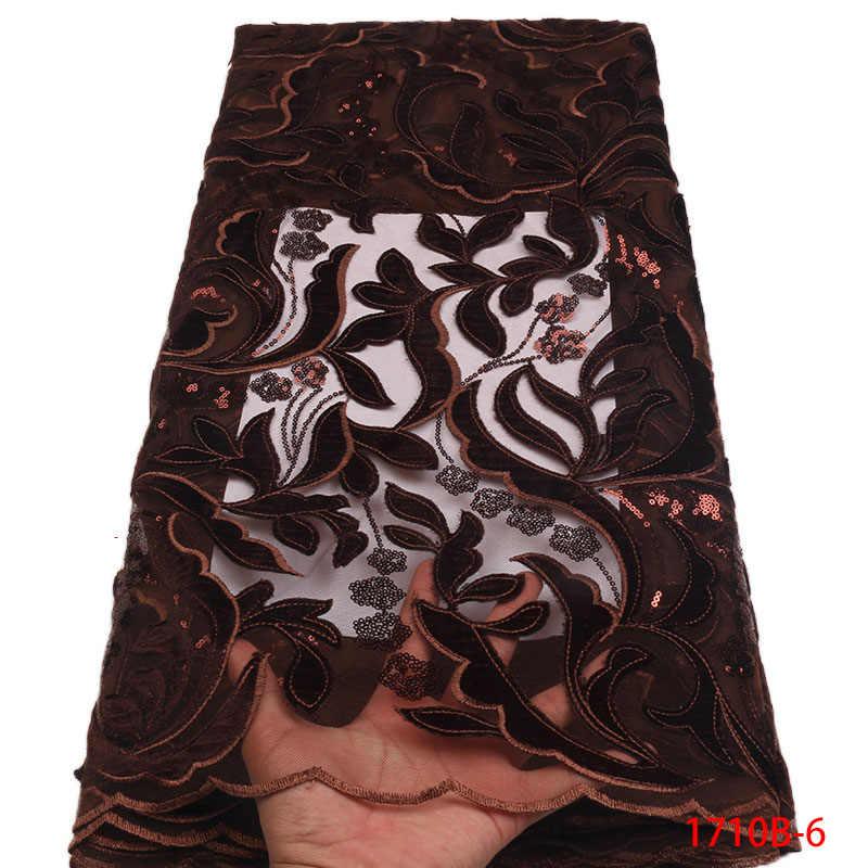 Нигерийская кружевная ткань 2019 качественное блестящее бархатная ткань с кружевом Золотое вышитое Тюлевое Африканское бархатное кружево ткань L1710B-11