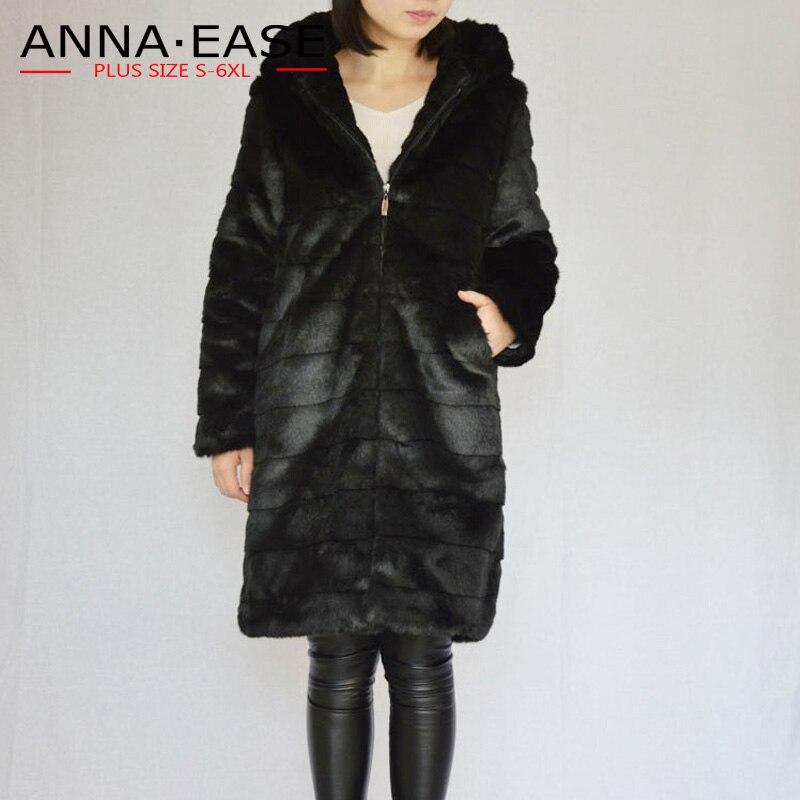 Plus la Taille Vestes pour Femmes 4xl 5xl 6xl En Fausse Fourrure Manteau Noir Long Manteau De Fourrure D'hiver Vestes Femme De Fourrure Artificielle manteau