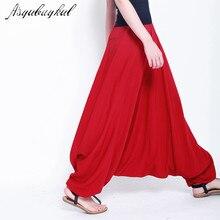 2020 bahar kadın rahat gevşek Harem pantolon katı elastik bel yaz geniş bacak pantolon artı boyutu pamuk keten pantolon M 4XL 5XL