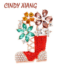 CINDY XIANG 2 Colors Choose Thinestone Christmas Boots Brooches For Women Party Fashion Jewelry Unisex Pins High Quality New