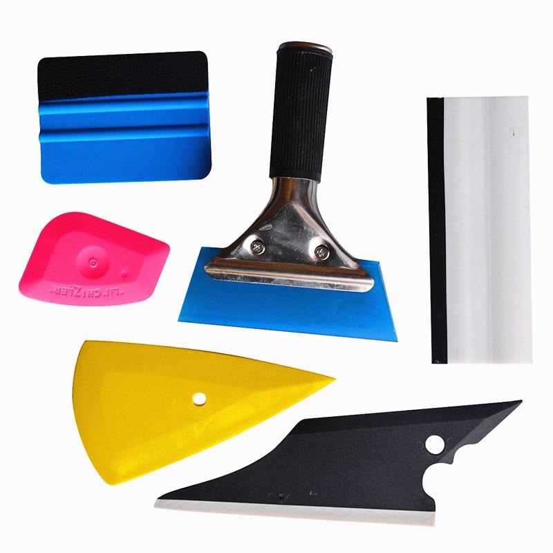 EHDIS 6 pcs En Fiber De Carbone Vinyle De Voiture Accessoires 3 m Raclette Scraper Vinyle De Voiture Wrap Outil Kit Fenêtre Teinte Outils feuille Film Installer
