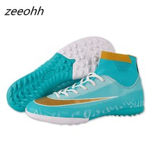 zeeohh New Hot Long&Short Spikes Adults Men's Outdoor Soccer Cleats Shoes High Top TF/FG Football Boots Training Sports Sneakers