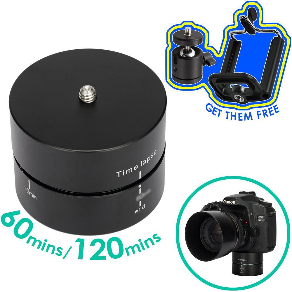 Prix pour 360 Degrés de Rotation Mont 60 120 Minutes Time lapse Panorama Pan Tête pour Smart Téléphone GoPro Dslr Lumière 3 kg capacité