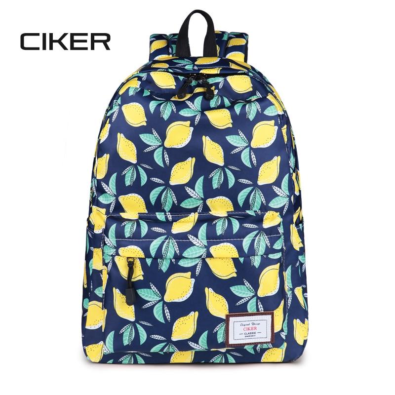 CIKER Lemon Printing Backpack Waterproof Backpacks For Teenage Girls Children Backpack Rucksack School Bags Mochilas Bookbag Sac