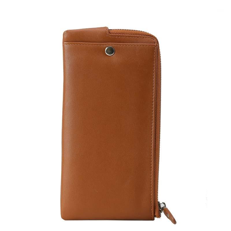 2018 nouveau classique en cuir véritable portefeuilles Vintage Style hommes portefeuille de mode marque sac à main porte carte Long portefeuille d'embrayage - 2
