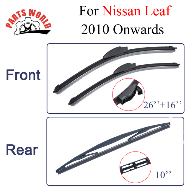 Combo da Borracha de Silicone Frente E Lâminas Do Limpador Traseiro Para Nissan Leaf 2010 Em Diante. Brisas Acessórios Do Carro 26 ''+ 16''