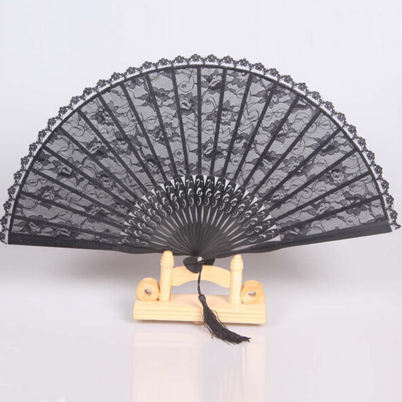 2017 Top Fashion Spain Black Leques Ladies Folding Lace Hand Fans,Wholesale Personalized Bamboo Fan Of Old Wedding Decoration 7