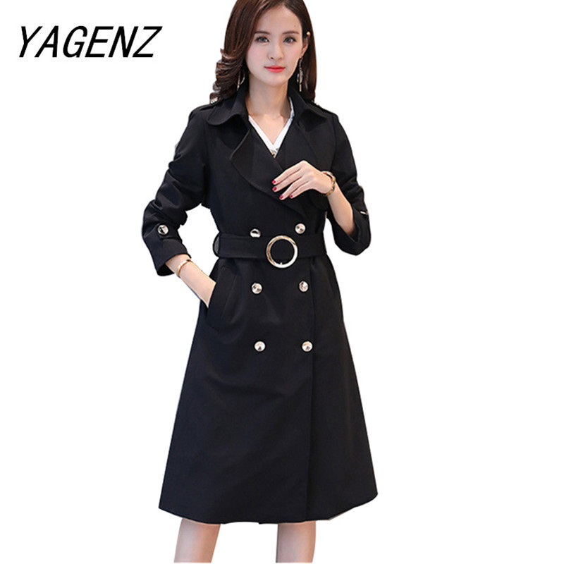 Fashion Brand Spring Autumn Slim Female Windbreaker Double-Breasted Long Overcoat Solid Casual Large size Women   Trench   coat 5XL