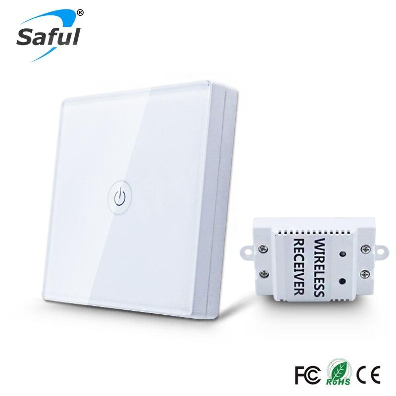 Saful 12 v Touch Schalter Wireless 1 Gang 1 Way Wasserdichte Licht Schalter Touch Panel Wand Schalter Licht Interruptor Für smart Home