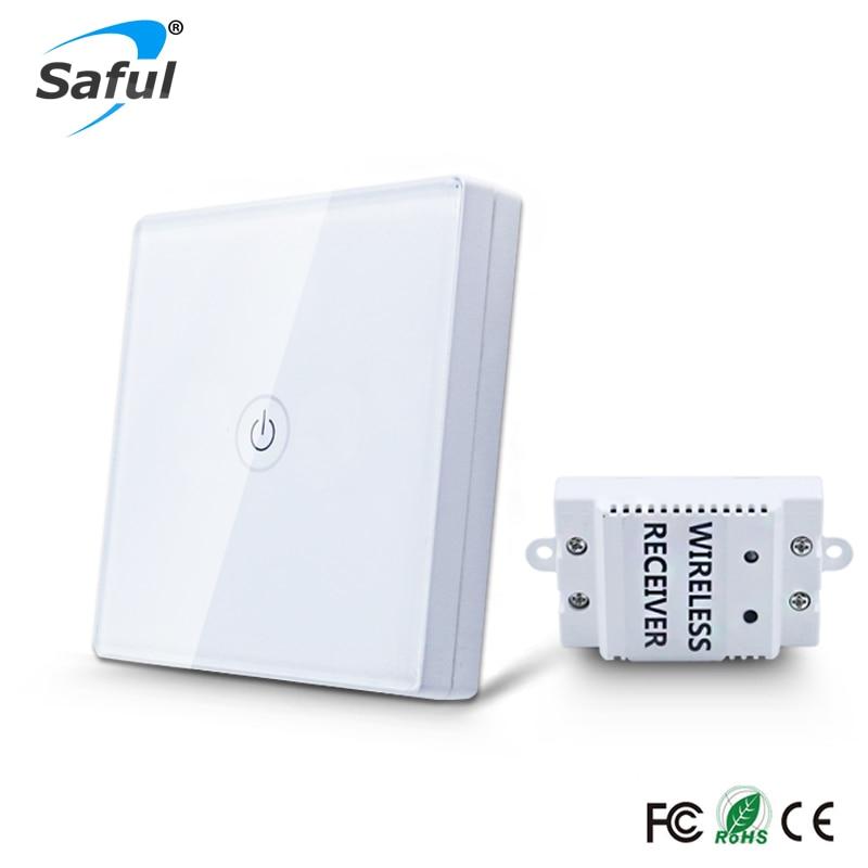 Interruptor táctil Saful 12 V inalámbrico 1 Gang 1 Way Interruptor de luz impermeable Panel táctil Interruptor de pared Interruptor de luz para hogar inteligente