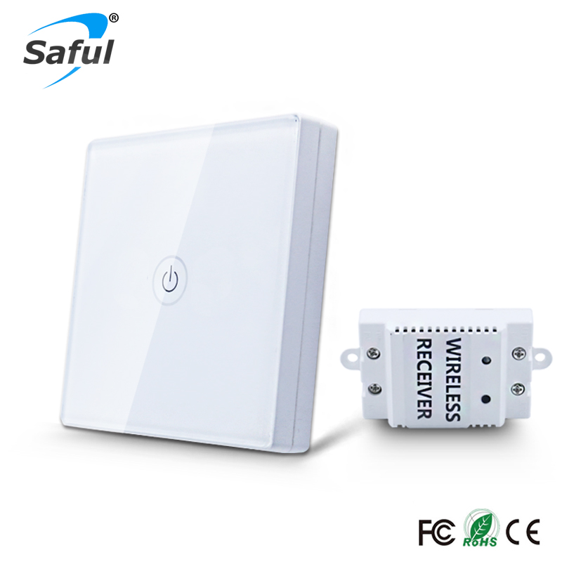 Saful 1 12 v Sem Fio Interruptor de Toque Quadrilha 1 Vias Painel Interruptor de Parede Interruptor de Luz Interruptor Da Luz de Toque À Prova D' Água Para casa inteligente
