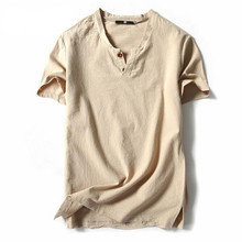 Spring summer leisure Chinese wind v-neck linen t shirt Men of literature and art s short sleeves light cotton hemp sleeve