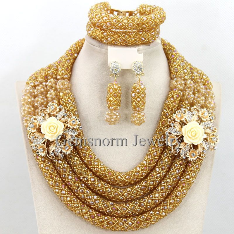 Luxury Champagne Gold African Nigerian Wedding Costume Jewelry Set Dubai Jewelry Set  For Brides Free Shipping WB527
