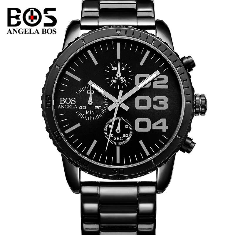ANGELA BOS Military Watch Men Waterproof Luminous Stainless Steel Stopwatch Sport Quartz Wrist Watch Clock Saat Man Montre Homme excellent quality outdoor mens watch date stainless steel military sports analog quartz wrist man watch montre homme relojes