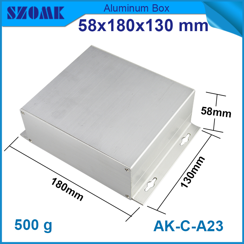 1 pcs/lot aluminum din rail enclosure extruded aluminum box pcb aluminium box outdoor 58(H)x180(W)x130(L) mm 215 52 263 mm w h l aluminum extruded enclosures housing project box case