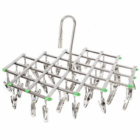 Windproof Stainless Steel Swivel Clothes Hanger Organizer With 35 Clips For Clothes Underwear Bra Socks Gloves