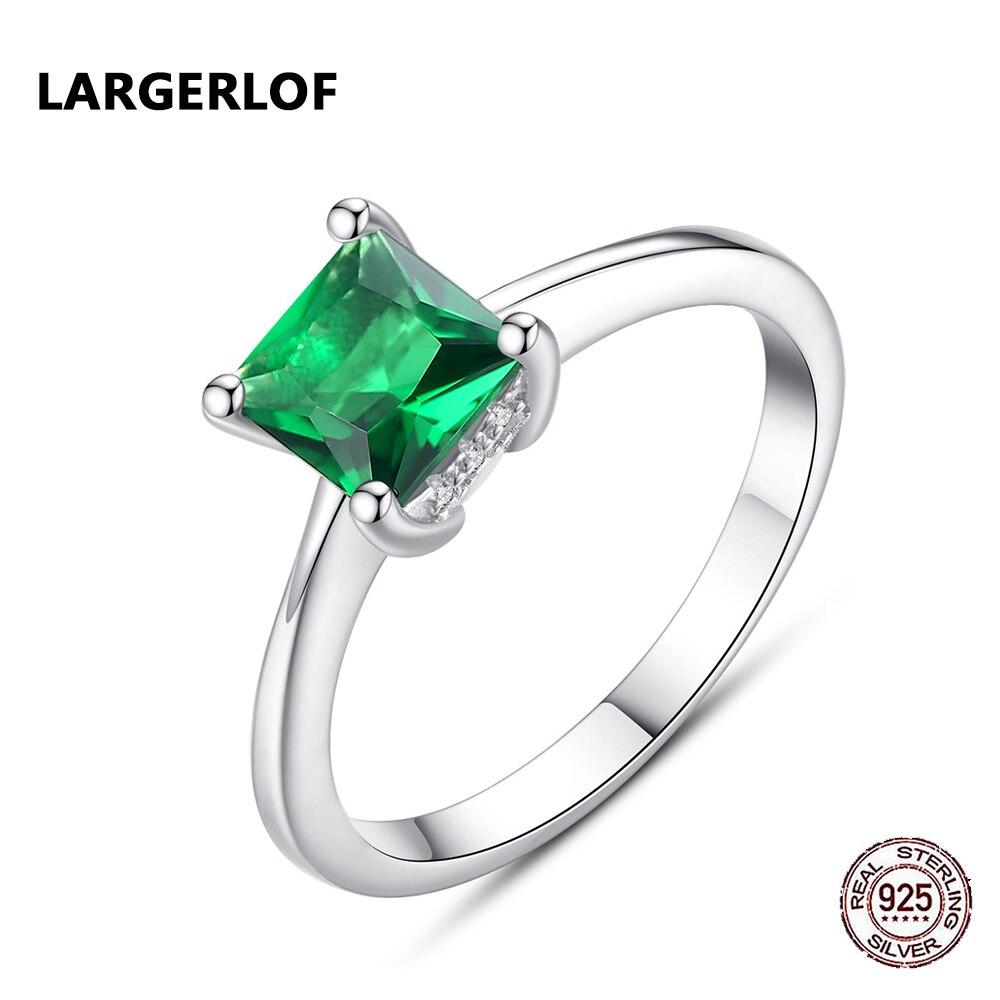 LARGERLOF Emerald Ring 925 Sterling Silver Ring Women silver 925 jewelry Rings Women RG49020