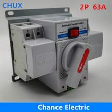 Dual Power Automatic Transfer Switch 2P 63A 230V MCB Type Dual Power Automatic Transfer Switch ATS Automatic Power Converter